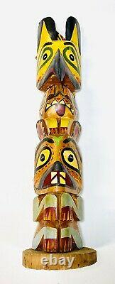 Vintage Tall 19 Northwest Coast Totem Stamped Hand Carved Chief White Eagle