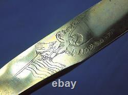 Vintage US Custom Hand Made Eagle Ducks Engraved Carved Stag Hunting Knife