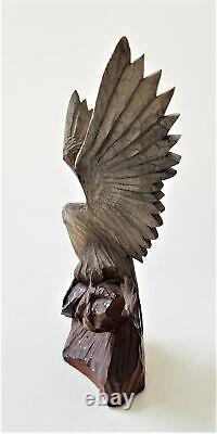 Vintage WOOD hand carved AMERICAN EAGLE signed JK ooak aafa treen folk art bird