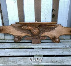 Vintage Wooden Wall Mounted Coat Hooks Shelf With Hand Carved Eagle