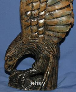 Vintage hand carved stone eagle statuette