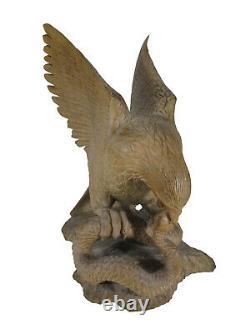 Vintage hand carved wood eagle sculpture # D11302