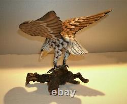 Vtg Hand Carved & Painted Wood Eagle Sculpture 8 3/4 T x 8 1/2 Wing Span x 8L