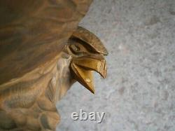 WOW! Vintage SOVIET RUSSIAN Wooden Hand Carved Large EAGLE Figure USSR