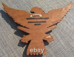 WWII U. S. Eagle Flag Shield Plaque Hand Carved Wood Trench Art Army Cannons POW