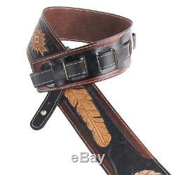 Walker & Williams LCT-21 Hand Tooled Leather Strap Eagle & Feather Design