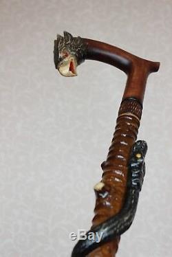 Walking sticks canes Eagle Snake Carved handle Wooden cane Hand carving stick