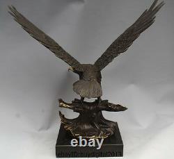 Western Art Copper Bronze Eagle Hawk Bird Figurine Sculpture Marble Base Statue