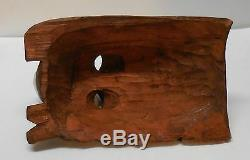 Wood Mask Eagle Headdress Feathers and Designs Hand Carved Vintage