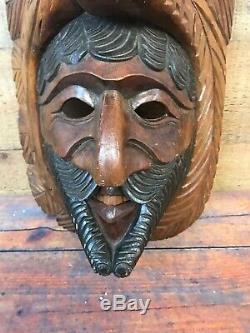 Wooden Tribal Eagle Snake Mask Wall Hanging Vintage Hand Carved Mahogany Wood