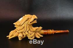 XL SIZE BOLD EAGLE PIPE BY ALI BLOCK MEERSCHAUM-NEW-HAND CARVED W Case#1404