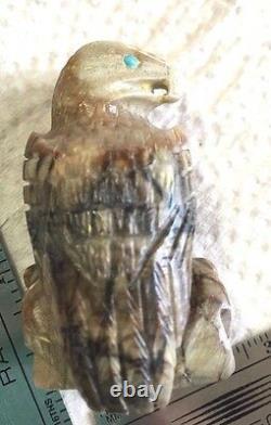 Zuni Eagle fetish handcarved Arvella Cheama Picasso marble 8443