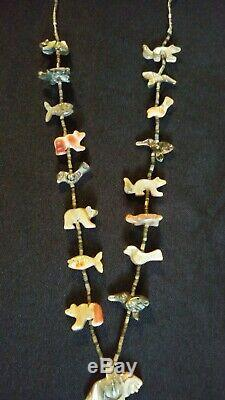 Zuni Navajo Eagle Animals Fetish Necklace 27- 17 Hand Carved Creatures